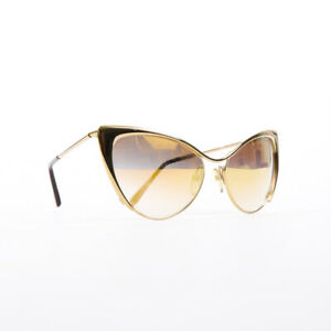 Tom Ford Nastasya Gold Metal Cat Eye Sunglasses
