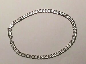 """* SHINY Solid 925 Sterling Silver ITALY Miami Curb Link Bracelet 9 1/4"""" Long"""