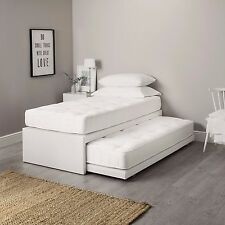 3FT SINGLE LEATHER GUEST BED 3 IN 1 WITH MATTRESS PULLOUT TRUNDLE BED SET
