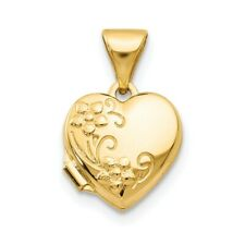 14K Floral Heart Locket New Yellow Gold