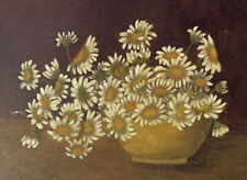 Antique 19th Century Floral Still Life Country Primitive Folk Art Oil Painting