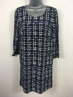 WOMENS DKNY NAVY PATTERNED SILK LONG SLEEVE LIGHTWEIGHT SHIFT DRESS SIZE P XS