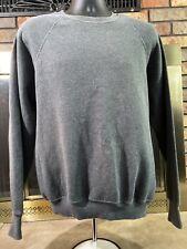 Vintage Crewneck Sweatshirt Gray Raglan VTG USA 80s Mens Size Large Blank EUC