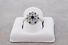 ESTATE 18K WHITE GOLD STAR OF DAVID RING WITH NATURAL BLUE SAPPHIRE AND DIAMONDS