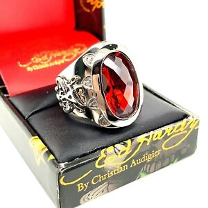 Authentic Ed Hardy Love Kills Slowly Red CZ Stainless Steel Ring Many Sizes