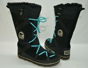 SOREL Glacy Explorer Black/Teal Waterproof Suede Tall Boots NL 1977-010