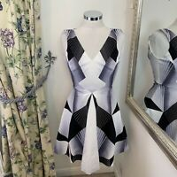 Karen Millen UK 8 black white fit flare smart work office business career dress