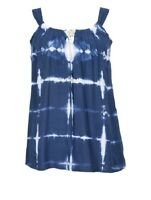 NOMADS Blue Retro Tie Dye Boho Summer Festival Top Cami Vintage Style Fair Trade