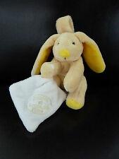 E12- Doudou et compagnie Lapin jaune  attache tétine mouchoir blanc 10cms - NEUF