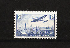 timbre france poste aérienne avion survolant Paris  num: 9   1f50   bleu     **