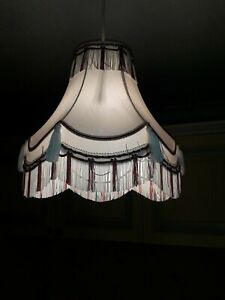 Fringed/Tassled Ivory & Burgundy Fabric Light Shade Med Size Immaculate
