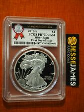 2017 S PROOF SILVER EAGLE PCGS PR70 DCAM FIRST DAY OF ISSUE CONGRATULATIONS SET