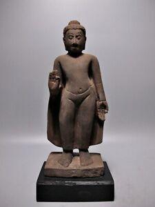 BUDDHA SCULPTURE SANDSTONE MON DVARAVATI STYLE FIGURE STONE ARTIFACT 18/19TH C