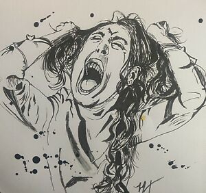 ORIGINAL ARTWORK | WOMAM RIPS HAIR OUT |Outsider Art | Pen & Ink | Dark | STRESS