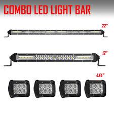 "22Inch LED Light Bar Combo + 12in +4X 4"" Pods Spot Offroad ATV Truck VS 52"" 42"""