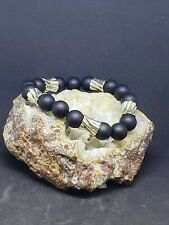 Matte onyx/ sterling silver bracelet, 12mm beads, 925 silver, hand textured #2
