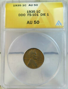 1935 Lincoln cent ANACS AU50 *FS 101 DDO* BR
