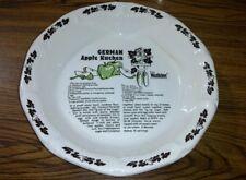 1983 Watkins GERMAN APPLE KUCHEN Collectible Recipe Pie Plate Baking Dish Server