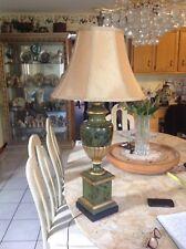 Vintage Chapman Neoclassical Urn Pedestal Marbelized Green Black Gold Lamp EC
