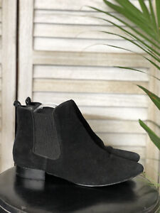 Jane Debster Black Leather Suede Ankle Boots, Shoes, Size 38
