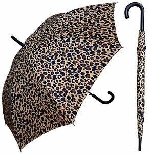 """48"""" Arc Leopard Print Auto-Open Umbrella - RainStoppers Rain/Sun UV Fashion"""