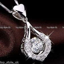 Silver Round Crystal & Heart Necklace Pendant Chain Gifts for Her Women Girls C3