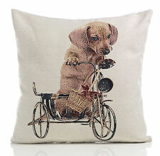 "Daschund Dog on a Bike Tapestry Cushion Cover 18x18"" (45x45cm)"