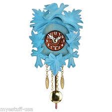 Modern Black Forest Quartz Pendulum Clock - Cuckoo Chime -  5.5 inch - Blue