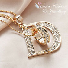 18K Gold Plated Simulated Diamond Double Layer Letter D & Ring Long Necklace