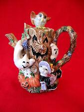 Vintage Halloween Harvest PUMPKINS~OWL~BUNNY~GHOST~TREE by Fitz & Floyd TEAPOT