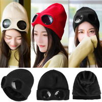 Winter Women Unisex Goggle Beanie Knitted Woolly Winter Chunky Beany Hat Hot