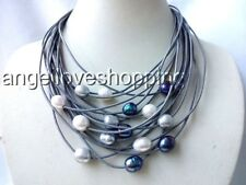 """15 row leather white gray black genuine culture freshwater pearl necklace 17-20"""""""