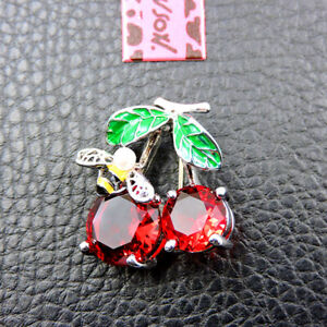 Red Rhinestone Cherry And Cute Pearl Bee Betsey Johnson Charm Brooch Pin Gift