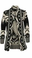 Women Ladies Aztec Printed Open Knitted Cardigan Long Sleeve Jumper Size S-XL