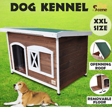XXL Flat Roof Pet Dog Timber House Wooden Kennel Home Box Cabin Indoor Outdoor