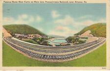 Famous Horse Shoe Curve on Pennsylvania Railroad near ALTOONA PA 1948 POST CARD