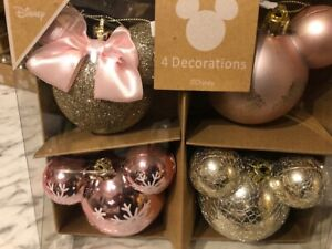 Disney Primark Mickey/Minnie Mouse Christmas Large  Baubles  4 Pack NEW FOR 2020