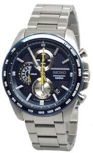 Seiko Quartz Chronograph SSB259 Blue Dial Stainless Steel Men's Watch