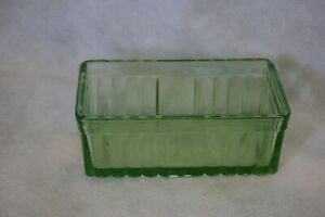 vintage green depression glass butter dish ribbed style