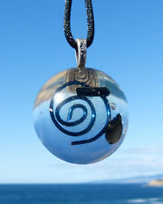 BLACK TOURMALINE Positive Energy Orgone Dome Pendant with Blue Spiral.