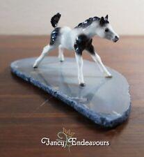 Hagen Renaker Mini Pinto Foal Horse on Polished Agate Stone Base