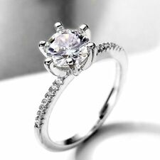 1.47 TCW Round Cut DVVS1 Moissanite Engagement ring in 14K White Gold Plated