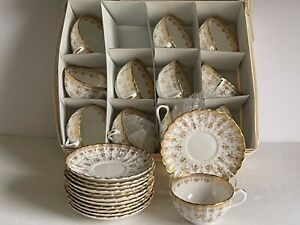 24pc (12x2) Lot FLEUR DE LYS Gold SPODE Bone China CUPS and SAUCERS Gold Trim
