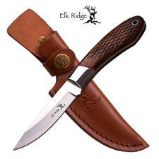 ELK RIDGE Fixed Blade Brown Knife ER-561WD Pakkawood Handle - Sheath - New