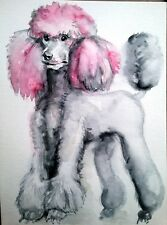 Dog lover gift,pet art wall art print painting on paper, pink poodle,pet gift