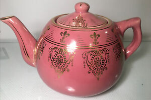 Vintage Tea Pot Made By Weller Pottery Pink with Gold Trim