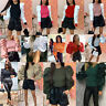 Women's Ladies Fine Ribbed Long Frill Puff Sleeve Contrast Jumper Sweater Top