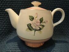 Pink & Cream Teapot Ceramic w/Rose Design Vintage Floral Pottery 4 cup