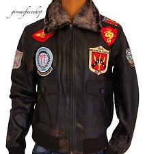 piel auténtica Aviatrix Piloto Fuerza Aérea Chaqueta, Bomber Caza TOP GUN STYL
