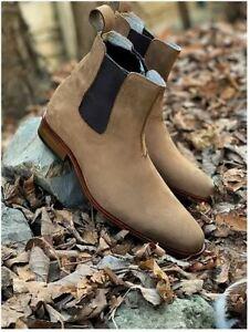Men handmade beige suede leather chelsea boots, Chelsea winter boots